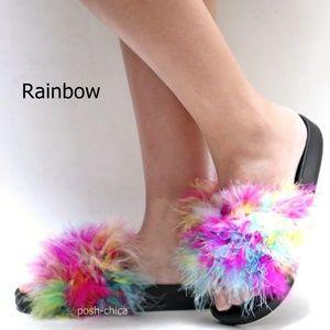 New Rainbow Feather Slip On Slides Flat Sandals
